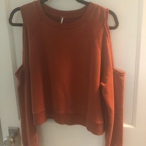 Free People Orange cut out sweatshirt